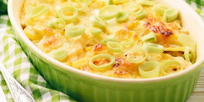 Gratin de poireaux et pommes de terre au reblocho