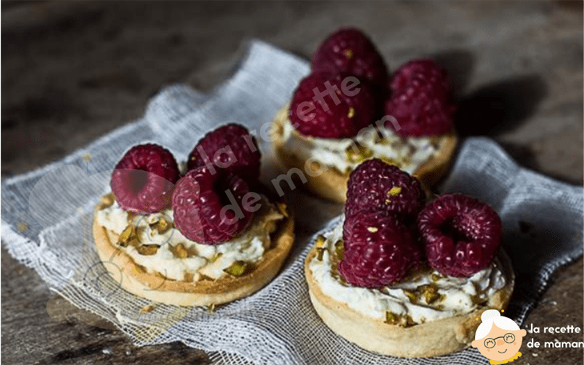 Tartelettes framboise/mascarpone/ pistache