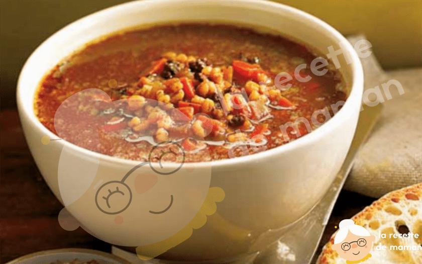 Soupe à l'orge et au boeuf hach