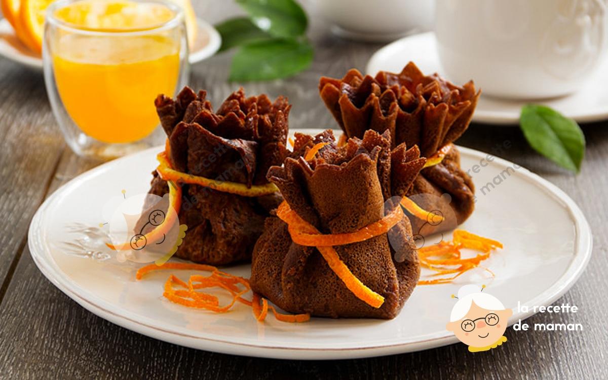 Aumônière de crêpes chocolat orange